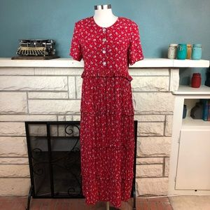 Cactus Flower red maxi dress with ruffles pleats